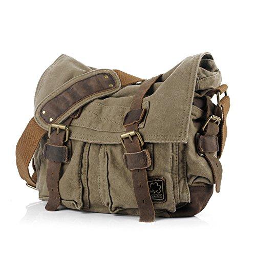 Han Lucky Star Herren Canvas Herrentasche Vintage Umhängetasche Männer Aktentasche Messenger Bag Schultertasche Handtasche (Army Green) - Und 1 Canvas Messenger Bag
