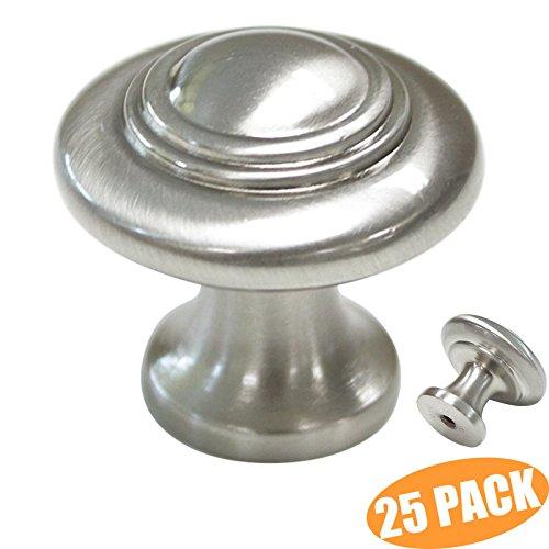 probrico Schrank Knöpfe Satin Nickel Schublade zieht rund Metall Knauf, gebürstetes Nickel, 1-1/7,6cm Durchmesser, Zinnlegierung, Brushed Nickel/Satin Nickel, Pack of 25 -