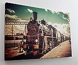Retro Dampflok Eisenbahn Leinwand Canvas Bild Wandbild Kunstdruck L1771 Größe 70 cm x 50 cm