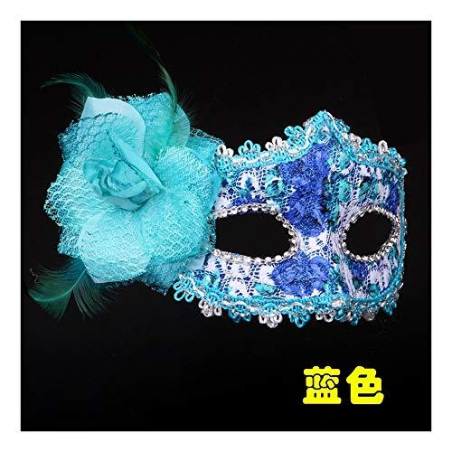 SCLMJ Halloween Party Masken Gemalt Lace Feather Dekorative Masken Für Masquerade Bälle, Blau
