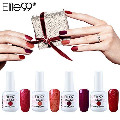 Nagellack Semi-Permanent elite99Nagellack Gel UV LED rot rosa SoakOff 4pcs Kit Manicure für Nagel 10ml
