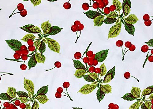 Italian Home Textile Company 3 Metri Tessuto Motivo Ciliegie| Prodotto Made in Italy | 100% Puro Cotone | Altezza 180 cm | Il Tessuto è in Vendita al Metro