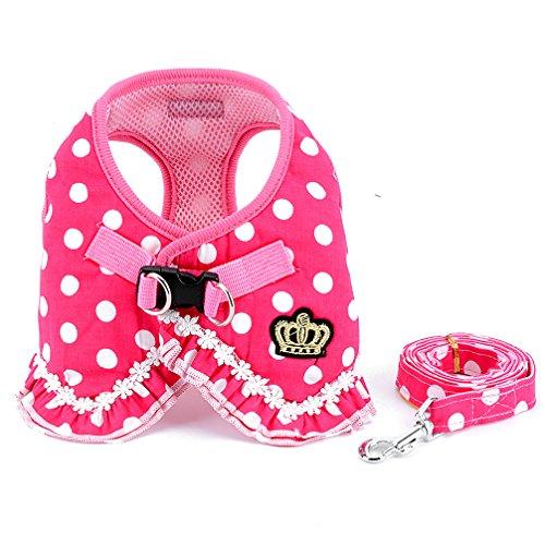 SELMAI Brother Katze Hund klein Hundegeschirr Pink Leine-Set Damen Polka Dot Weste Mesh Gepolsterte Leine für Haustier Katze Puppy Mädchen S -