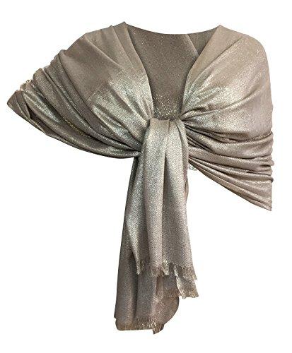 Ltp brillante elegante maxi sciarpa filo oro o argento scialle foulard,da donna ragazza coprispalle stola cerimonia 8 colori (beige filo argento)