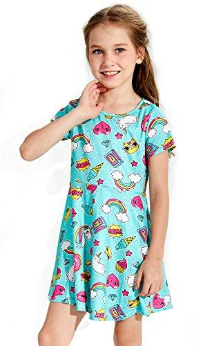 eid Sommer Kurzarm Lustig Muster Hohe Taille Kleider 5 Jahre (Lustiges Kleid Für Kinder)