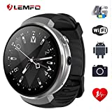 LEMFO LEM7 Smart Uhr - Android 7.0 4G LTE 2MP Camera Watch Phone 16GB ROM Built-in Translator Bluetooth/GPS/Heart Rate Monitor Sports Smartwatches for Android iOS Silver