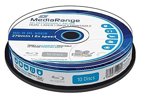 MediaRange MR509 - BD-R Dual Layer Blu-ray Disc 50GB 6x Speed, bedruckbar, weiß,10 Stück (Bd-r Rohlinge)