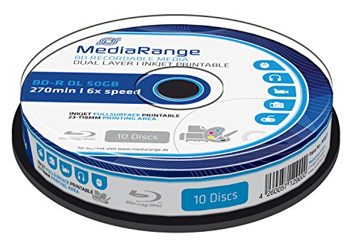 MediaRange MR509 BD-R Dual Layer Blu-ray Disc (50GB 6x Speed, bedruckbar, 10 Stück) weiß