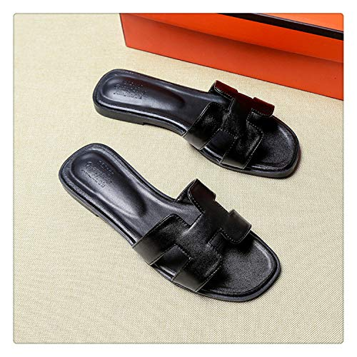 Big Size 43 Women Summer Sandals Luxury Brand Ladies Shoes Woman Quality Flat Shoes 10 Colors Beach Vacation flip&Flops Slippers Black 2 Style 8.5