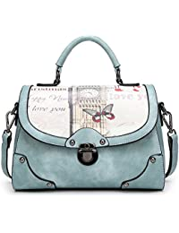 The Best Ladies Pu Leather Vintage Top-Handle Handbags 50'S Style Cross-Body Bag With Bow For Women (Blue) By...