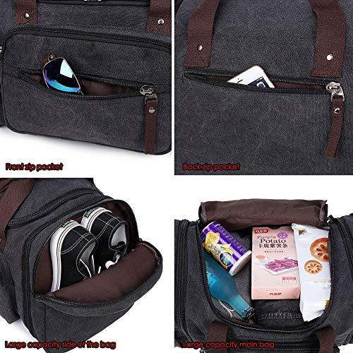Canvas Duffle Bag, Unisex Weekend Travel Bag - Black