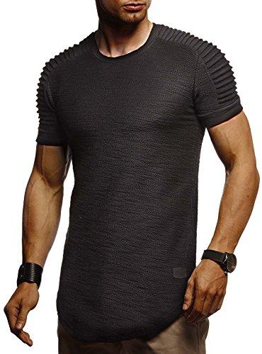 LEIF NELSON Estilo Motero con Capucha Hombres sobredimensione la Camiseta de Manga Corta Cuello Redondo Manga Larga Top