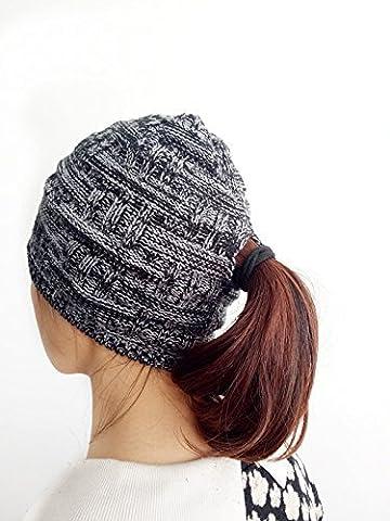 Nadco Women's Space Dye Knit Ponytail Beanie/skullie hat/cap - black