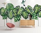 Mbwlkj Benutzerdefinierte 3D Tapete Hochwertige Mural Tapete Tropischer Pflanze Blatt Grünes Blatt Kolibri Bar Ktv Hintergrund Wall 3D Tapete-200cmx140cm
