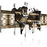murando - Akustikbild Weltkarte 200x100 cm - Pinnwand - Wandbilder als Korktafel - Korkwand nutzbar - Schallschutz - Vlies Leinwand - Akustikdämmung - 5 Teilig - Wandbilder XXL - Schallschlucker - Wandbild - leise - k-A-0022-b-n
