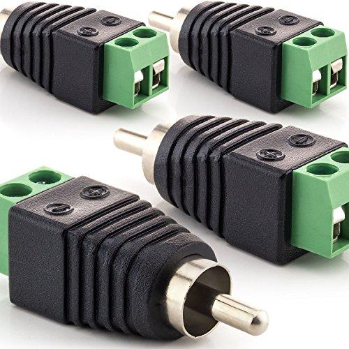 zanasta 4 Stück Adapter Terminalblock zu Cinch/RCA Stecker (männlich) 2 polig Schwarz-Grün