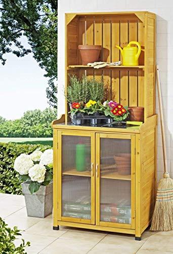 Gartenschrank mit Regalaufsatz (Papier Verstärkungen)