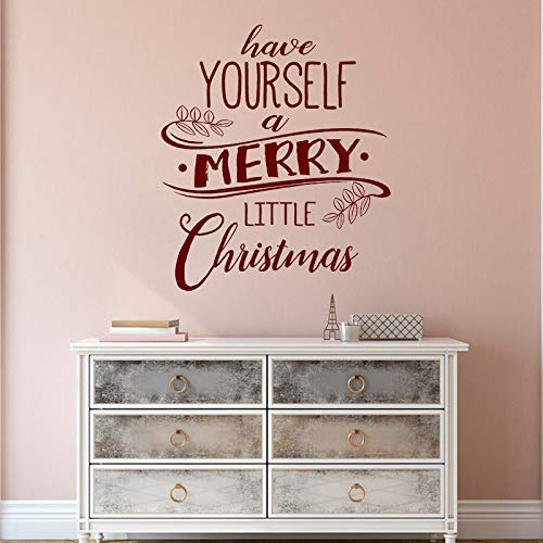 zhuziji Merry Little Christmas Wall Decal Quotes Art Mural Home Decor Vinyl Wall Stickers Happy Holiday Houseware Window D 42x49cm
