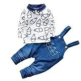 CHIC-CHIC Ensemble Salopette avec Haut Longues Manches Bébé Garçon Fille Jeans Denim T-shirt Mignon 3-4ans Blanc
