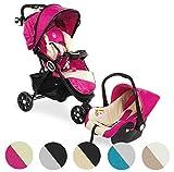 Froggy® 2 in1 Kombi-Kinderwagen DINGO Kinderbuggy mit Autositz Kinderwagen Buggy Jogger ultraleicht 5-Punkt-Sicherheitsgurt Liegefunktion Raspberry