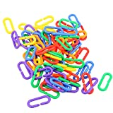 Demiawaking 100Pcs Plastic C Shaped Link Hooks Chain Pet Parrot Bird Chewing Swing Hanging Acrylic Toys Cage Toy for Parrot Macaw