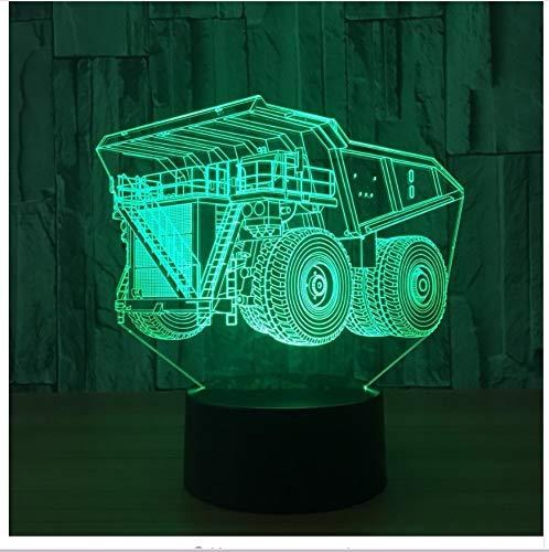 Super truck 7 colori lampada 3d visual led night lights per bambini touch usb table lampara lampada baby sleeping nightlight motion light light box