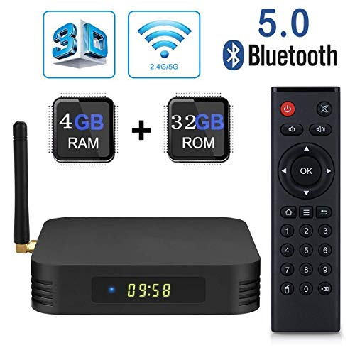 Mesigu Elektronische TV-Box Android 9.0 TV-Box, TX6 Android Box 4 GB DDR3 32 GB ROM BT5.0 Dual WiFi 2.4G + 5G Viererkabelkern 1080p 4K HDR Smart TV-Medienbox Fernsehmelder