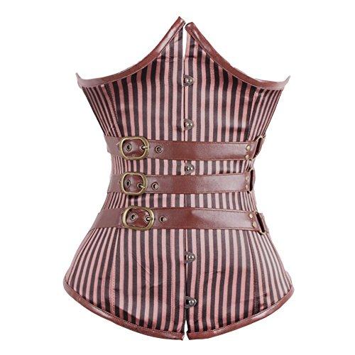FeelinGirl Damen Steampunk Korsett Kunstleder korsagenkleid Rock Kostüm Burlesque Korsett Faschingskostüm, Braun mit 12 Stäbchen, L (2019 Kostüme Für Halloween Einzigartige)