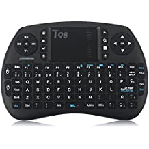 QcoQce Mini teclado inalámbrico T98 QWERTY(tiene Ñ) con touchpad 92 teclas y batería de iones de litio 2.4Ghz Ideal para Smart TV mini-ordenador tablet consola de juegos y TV BOX