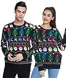 Idgreatim Herren Led Licht Weihnachtspullover Ugly Christmas Sweater Weihnachtsmann Pullover Langarm Hässliche Weihnachts Pullover L
