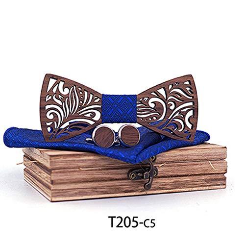 Yamyannie-BWT Handgemachte Fliege, Handgefertigte Massivholz Qualität Log Custom Holz Fliege europäischen und amerikanischen Trend Tie Set (Farbe : 5, Größe : Free Size) - Handgefertigte Massivholz