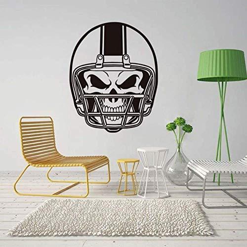 American Football Helm Schädel Wandaufkleber Selbstklebende Tapete für Kinder Schlafzimmer Vinyl Wandtattoos Kreative Wohnkultur 58 * 72 Cm