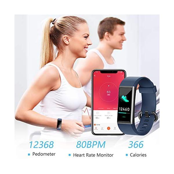 KUNGIX Pulsera de Inteligente Mujer, Smartwatch Impermeable IP68 con 14 Modos de Deporte, 0.96 Inch Pantalla Color Reloj Deportivo con Pulsómetro para Hombre Android iPhone iOS Teléfono 3