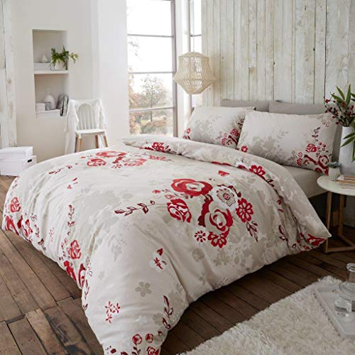Eaton 100% Coton brossé Thermique en Flanelle avec Housse de Couette Taie d'oreiller Parure de lit (Eaton Rouge, Double)