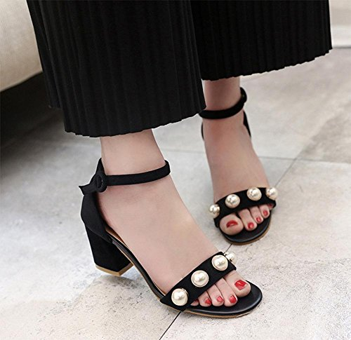 Mode Perle Sandalen mit hohen Absätzen Sandalen Wort Black