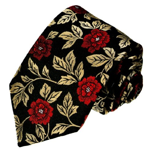 Lorenzo Cana - Marken Krawatte aus 100% Seide - Rot Gold Schwarz Rosen Blumen - 84244 (Schwarze Rosen Seide)
