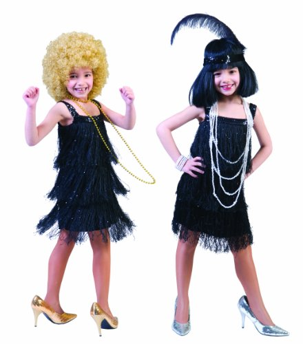 Charleston Kleid schwarz Celine Kostüm Mädchen Gr. 116 - 152 (Mädchen Kostüm 20er)
