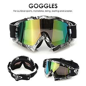 AUDEW Motorrad Goggle Motocross Wind Staubschutz Fliegerbrille Snowboardbrille Schneebrille Skibrille Wintersport Brille Dirtbike Off-Road Schutzbrille QL036farbig
