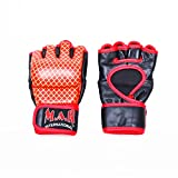 M.A.R International Ltd. echtes Leder Open Palm MMA ULTIMATE FIGHTING Handschuhe Muay Thai Power Data Grapple & Strike Handschuhe Gym Fitness Supplies Sparring Gear XL schwarz/rot