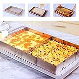 Teglia da forno con cornice rettangolare regolabile–Teglia quadrata, allungabile, 5cm di altezza–Anello torta in acciaio INOX, 100% inossidabile, lavabile in lavastoviglie Taglia libera Silver