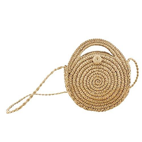 Bolso de mimbre para la playa, bolso bandolera, bolso para almacenaje, para verano, tejido a mano, natural, diseño retro, para las vacaciones, para viajes, para mujeres y niñas