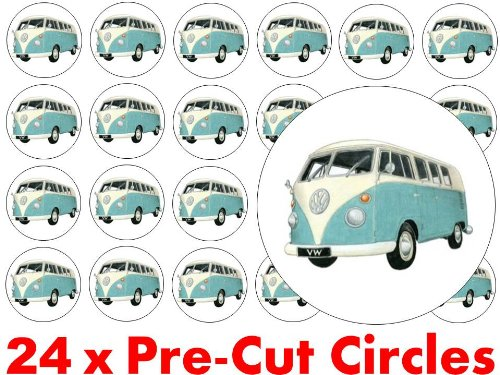 24-x-38mm-Pre-Cut-Blue-VW-Volkswagen-Camper-Van-Campervan-Fairy-Muffin-Cup-Cake-Toppers-Decoration-Edible-Rice-Wafer-Paper