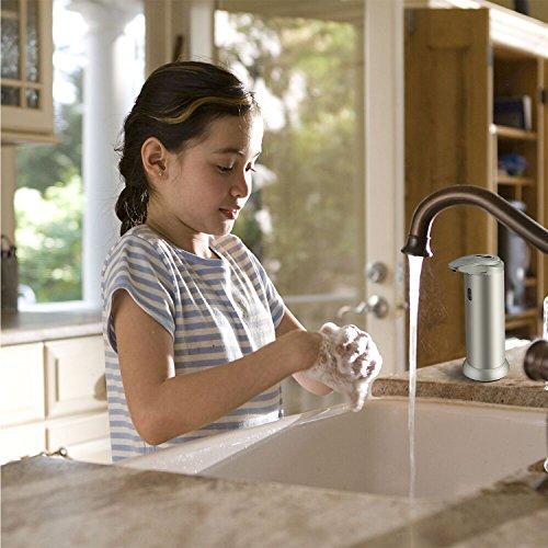 Dispensador de jabón  Sobotoo 300ml Dispensador de jabón Líquido Automático Sensor 304 Acero inoxidable con base impermeable para cocina y baño Office Sanitizer Shampoo Loción argento (300ml  champagne)