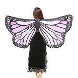 WOZOW Damen Schmetterling Flügel Kostüm Nymphe Pixie Umhang Faschingkostüme Schals Poncho Kostümzubehör Zubehör (leichte Puple)
