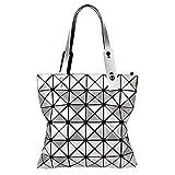 whatUneed Borse da donna con manico superiore, tracolla luminosa geometrica, shopping bag pieghevole in ecopelle in pelle sintetica (argento)