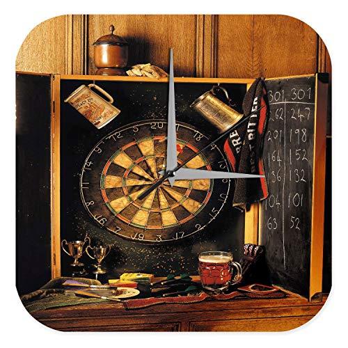 LEotiE SINCE 2004 Wanduhr mit geräuschlosem Uhrwerk Dekouhr Küchenuhr Baduhr Sport Darts Scheibe Pfeile Deko Wand Uhr Vintage Retro