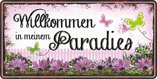 AV Andrea Verlag Großes Metallschild rostfrei Blechschild Schild mit lustigem Spruch im Vintage Retro Look (Willkommen in Meinem Paradies 33517) (In Meiner Blume)