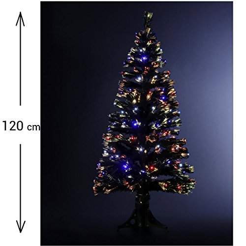 DECORACION NAVIDAD - Arbol de Navidad artificial luminoso de fibra óptica + 136 LED - Entregado con su pie - Juegos de luces con teclado de control - Altura 120 - Color NEGRO