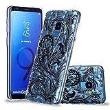 Artfeel Ultra Dünn Weich Klar Hülle für Samsung Galaxy S9, Samsung Galaxy S9 Handyhülle Geprägt Schwarze Phoenix-Feder Geometrische Muster,Flexibel TPU Silikon Schutz Zurück Abdeckung