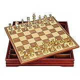 BingWS Schachspiel Magnetisch Hochwertiges Schachspiel Mittelalterliches Schachspiel mit Schachbrett 32 Schachfiguren mit Schachbrett Gold Silber Magnetisches Schachspiel Schach
